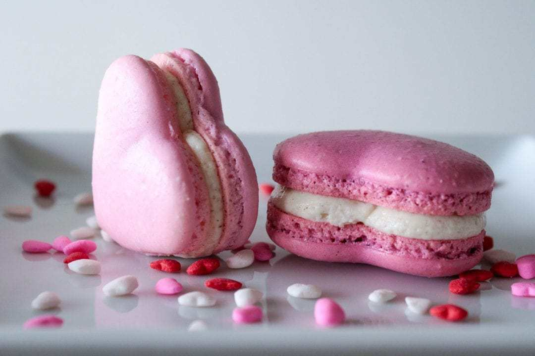 valentines heart macarons