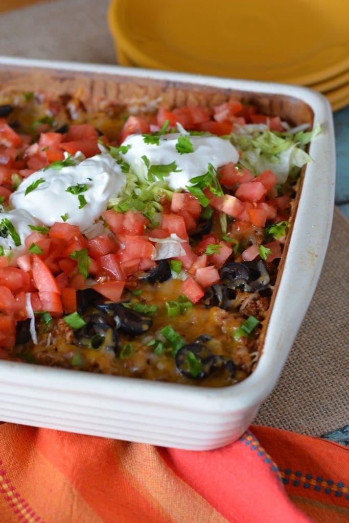taco bake casserole, easy taco bake, casserole recipes, easy casserole recipes, tacos, taco Tuesday recipes