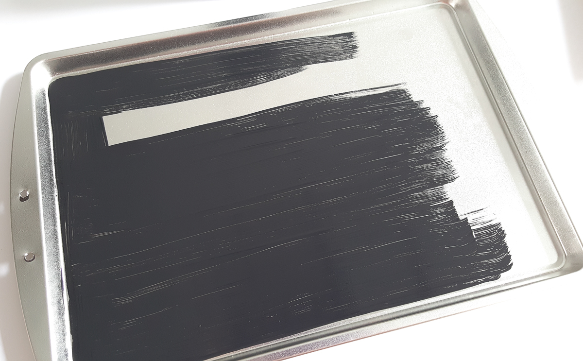 black chalk paint over baking pan