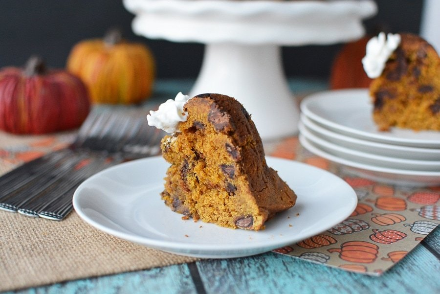Instant Pot Pumpkin Chocolate Chip Cake - Recipe Perfect For Fall Season and paired nicely with a pumpkin drink or latte