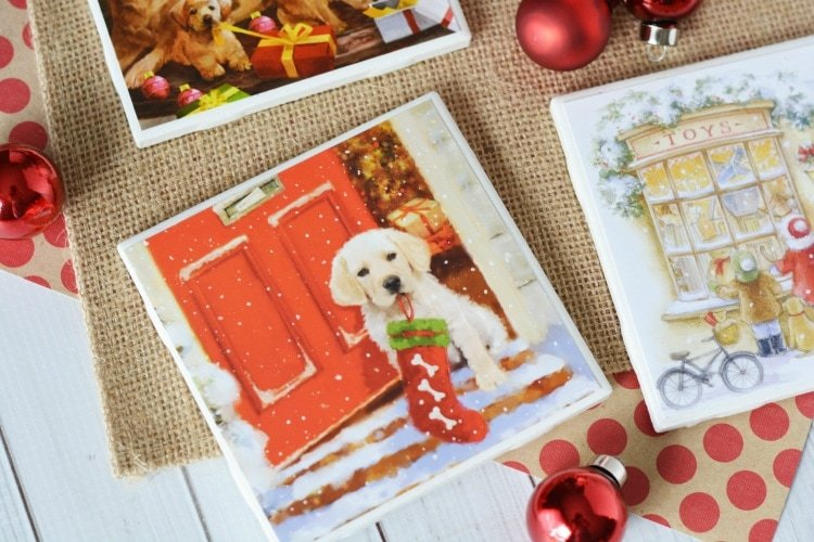Pretty Christmas Coasters made out of christmas cards