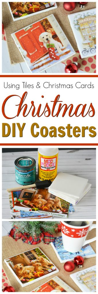 Don't throw away those random Christmas cards, put them to good use and make a gift out of them! Like these easy to make DIY Christmas coasters! https://www.southernfamilyfun.com/diy-christmas-coasters/ #ChristmasDIY #CraftsForChristmas #ChristmasCoasters #christmascards