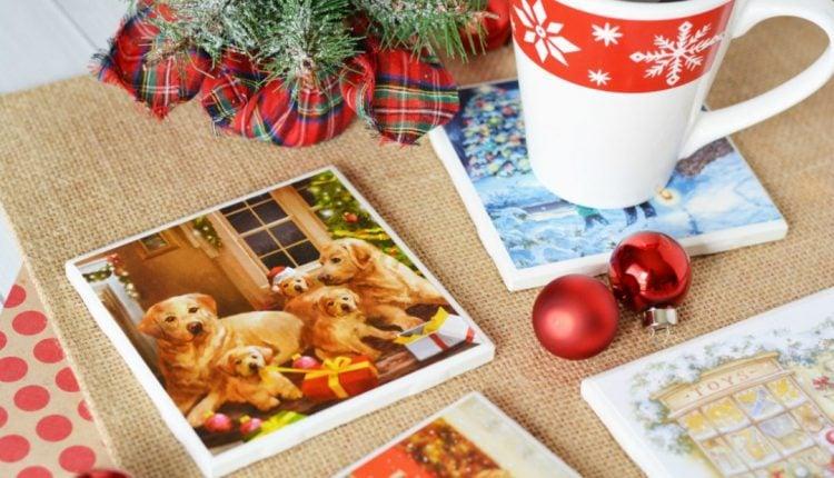 DIY Christmas Coasters Handmade Using recycled christmas cards