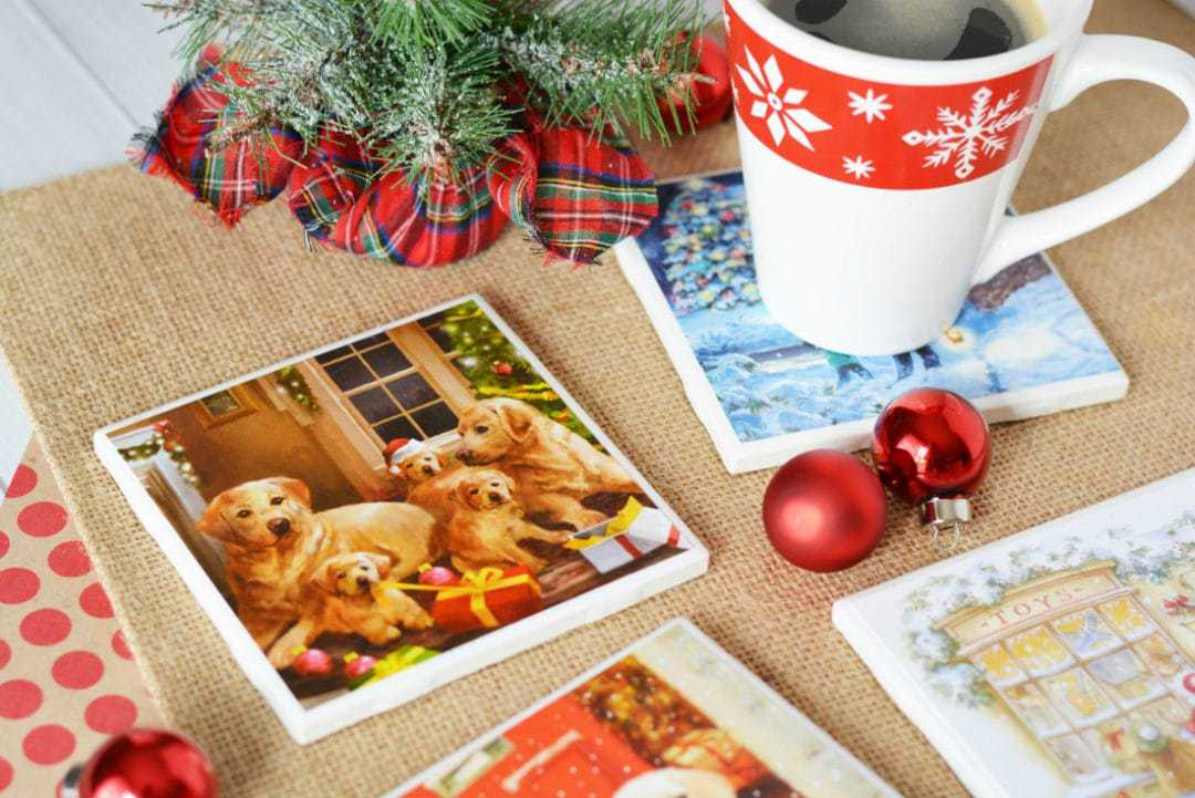 DIY Christmas Coasters – Made Out of Christmas Cards and Tile Squares