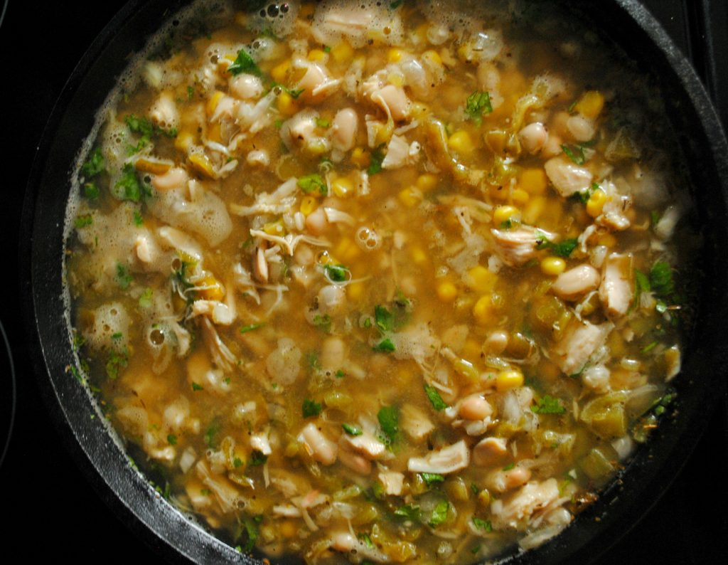 White Chicken Chili Recipe using Cast Iron Skillet