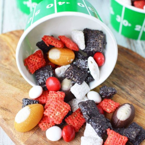 Atlanta Falcons Puppy Chow, Football party snack ideas, Falcons Football Snack Ideas