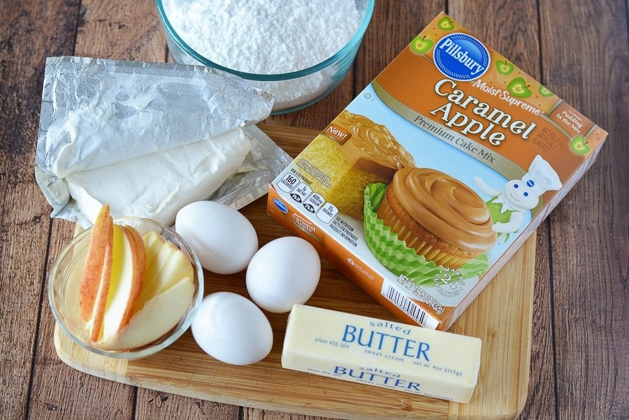 Ingredients to make a Caramel Apple Cream Cheese Cake