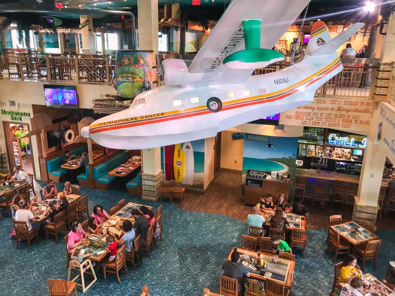 Lobby of Margaritaville Restaurant in Pigeon Forge