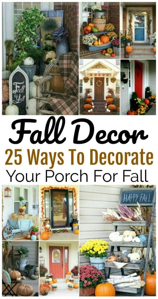 25 decorating ideas for your front porch. Each porch is beautifully decorated to ring in the Fall season.   https://www.southernfamilyfun.com/fall-porch-decorating-ideas/