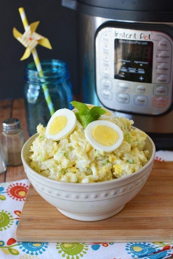 a bowl of instant pot potato salad