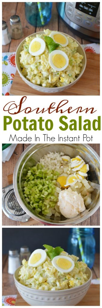 Instant Pot Potato Salad - This is the quickest and easiest Instant Pot Potato Salad you'll ever make. Made with celery and onions. Make this potato salad in less than ten minutes. https://www.southernfamilyfun.com/instant-pot-potato-salad/