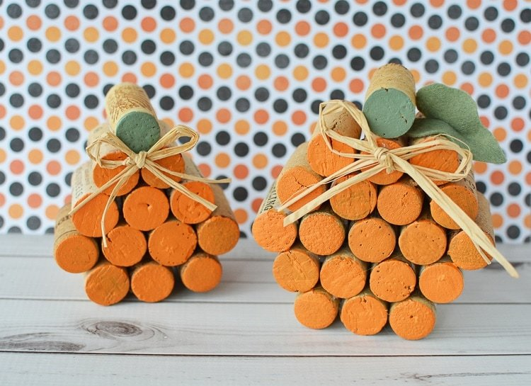 Easy to make Cork Pumpkins