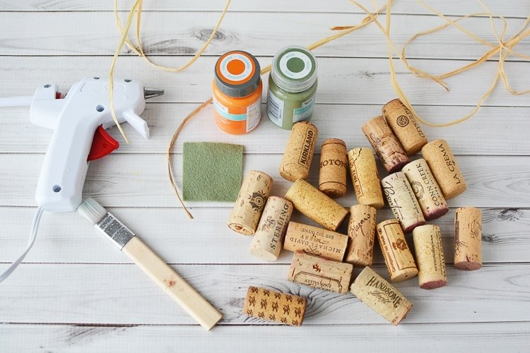 Materials needed to make Easy DIY Cork Pumpkins
