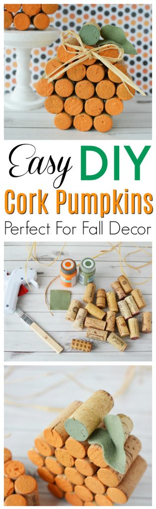 DIY Wine Cork Pumpkin Craft Pin for Pinterest
