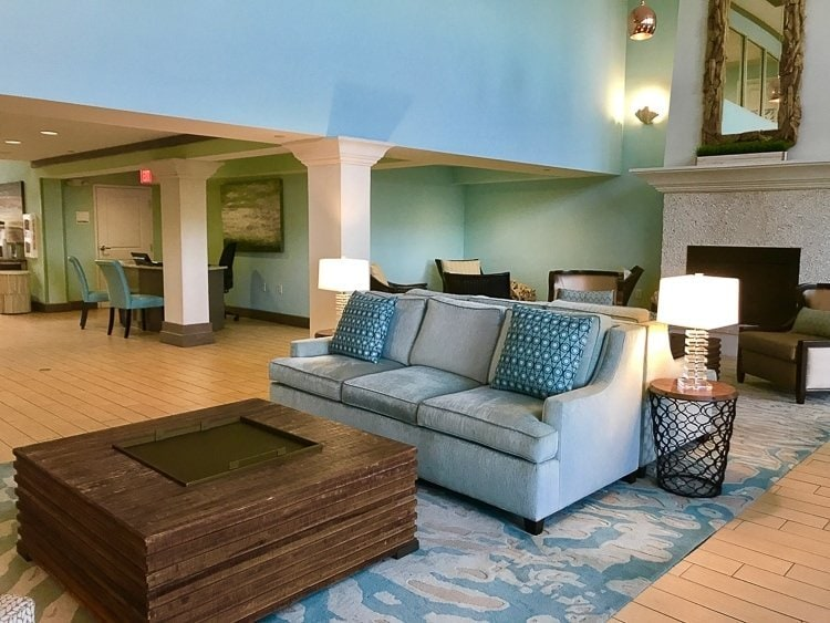 the lobby of the Holiday Inn Resort in Jekyll is updated with modern decor
