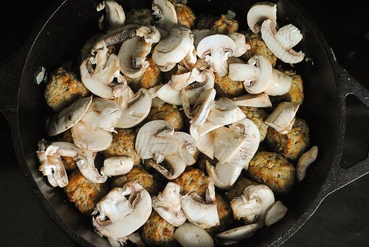 Easy Cast Iron Skillet Meatballs and Mushroom Sauce