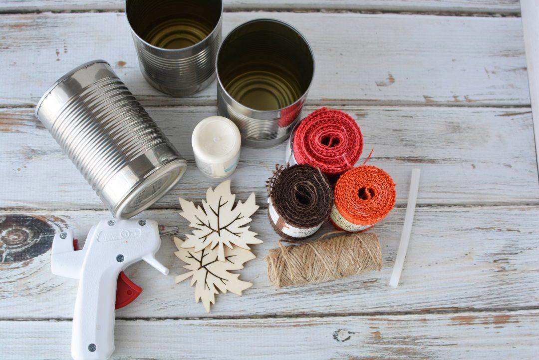 Tin Can Centerpieces, Upcyle Centerpiece, Fall DIY Centerpiece, Thanksgiving Centerpiece