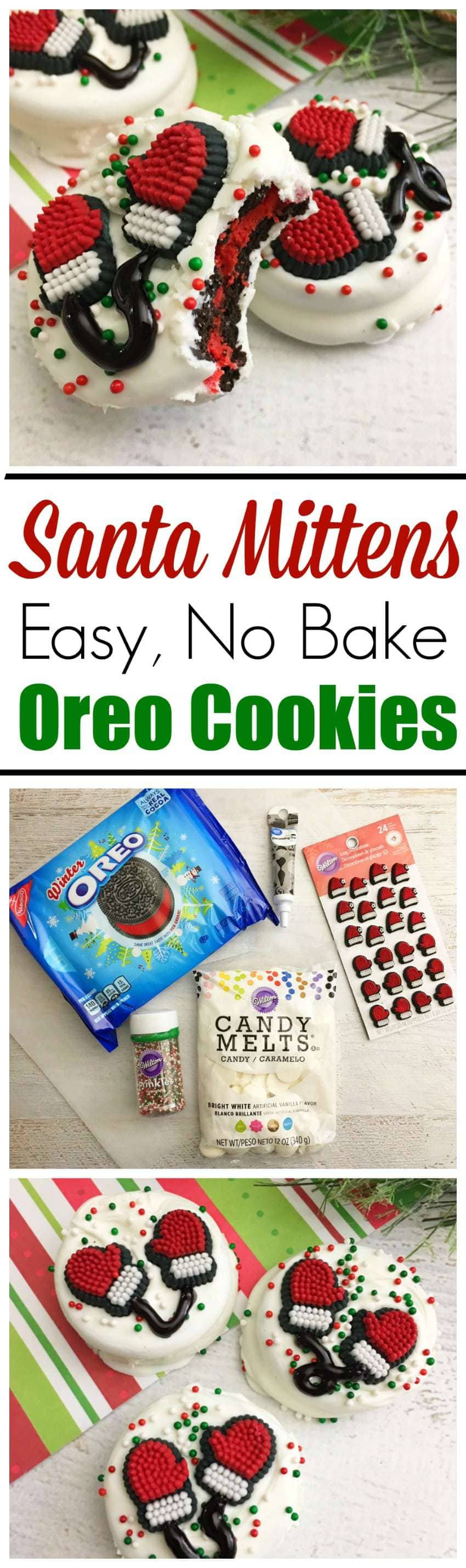 These Santa Mittens Made With Oreo Cookies are so easy to make, with only five ingredients and no baking necessary. #ChristmasCookies #SantaCookies https://www.southernfamilyfun.com/santa-mittens-oreo-cookies/