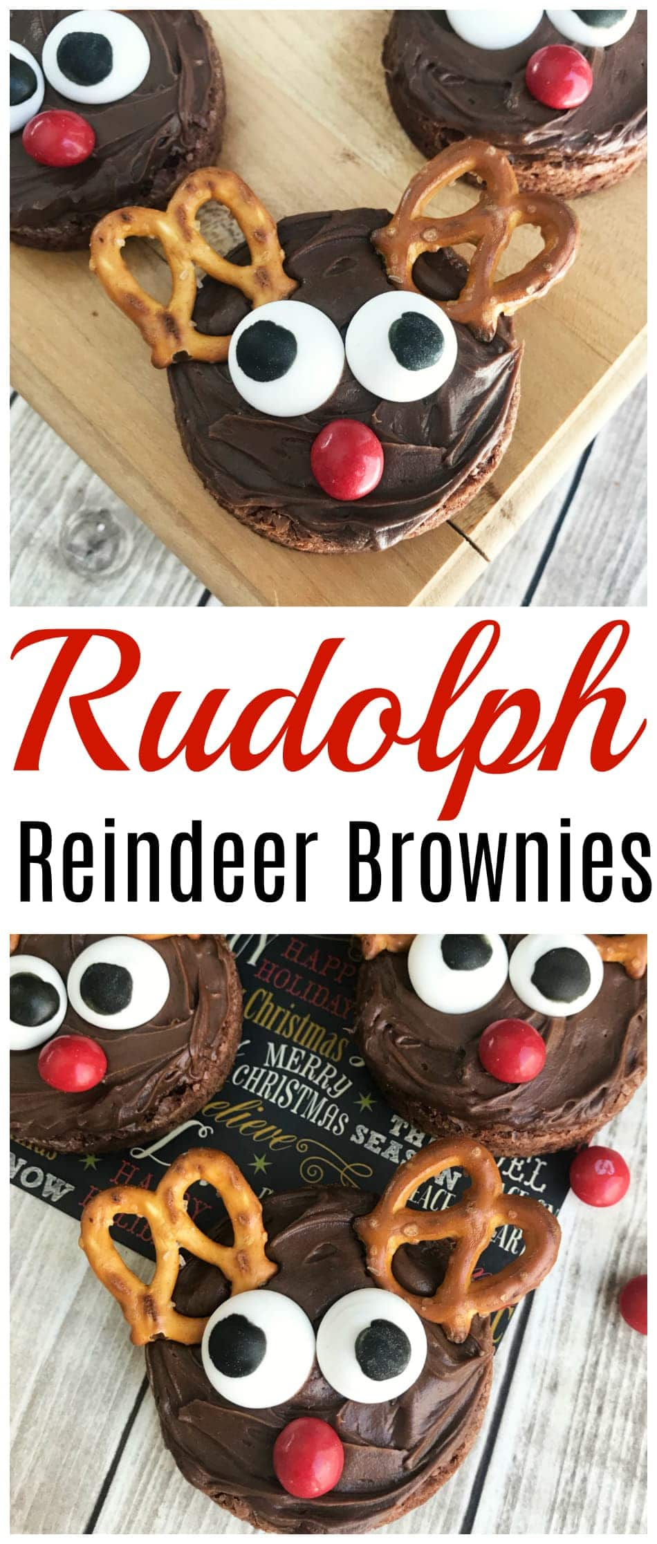 These easy Rudolph the Red Nose Reindeer Brownies our a perfect Christmas holiday party dessert that everyone will go crazy for. #ChristmasBrownies #ReindeerBrownies https://www.southernfamilyfun.com/easy-rudolph-reindeer-brownies/