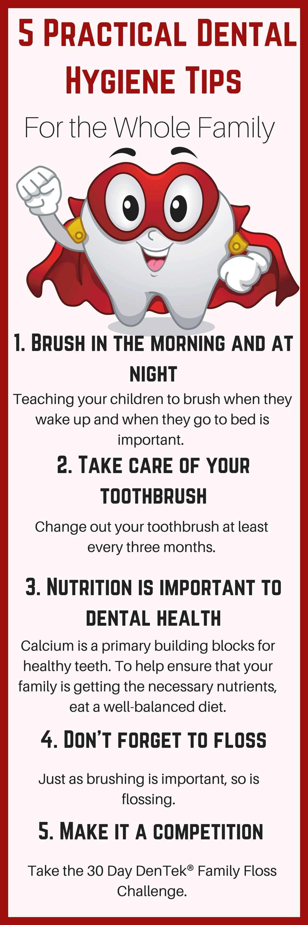 Taking care of their teeth should be a daily routine and one that cannot be neglected. Teaching them proper dental hygiene is important, and they are old enough now to do it on their own. #ad #DenTek #FamilyFlossChallenge @DenTek https://www.southernfamilyfun.com/dental-hygiene-tips-family/