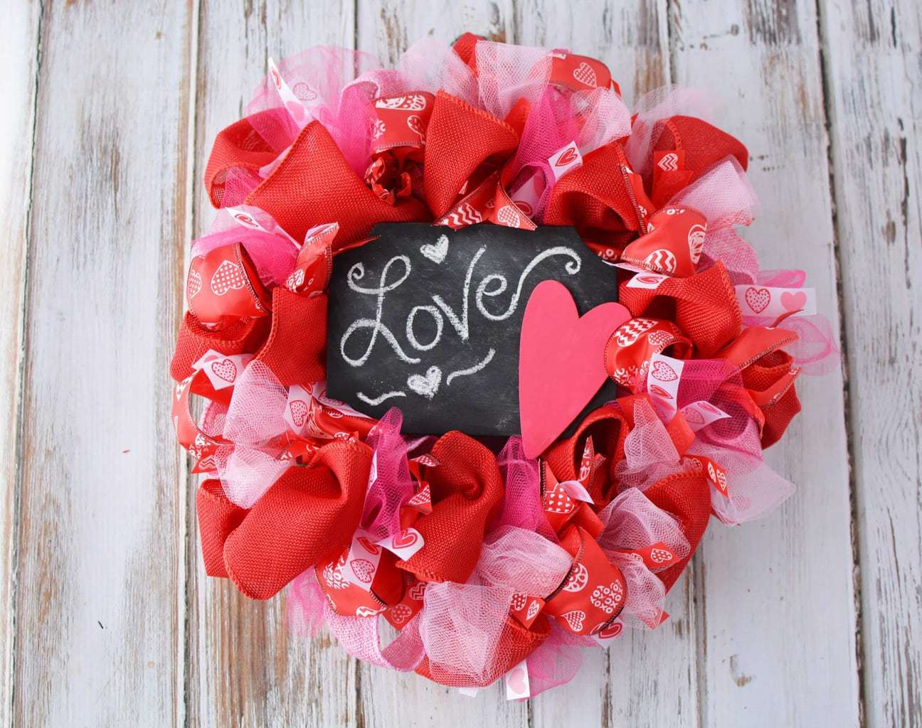 DIY Valentine's Day Mesh Wreath – Homemade Door Decorations