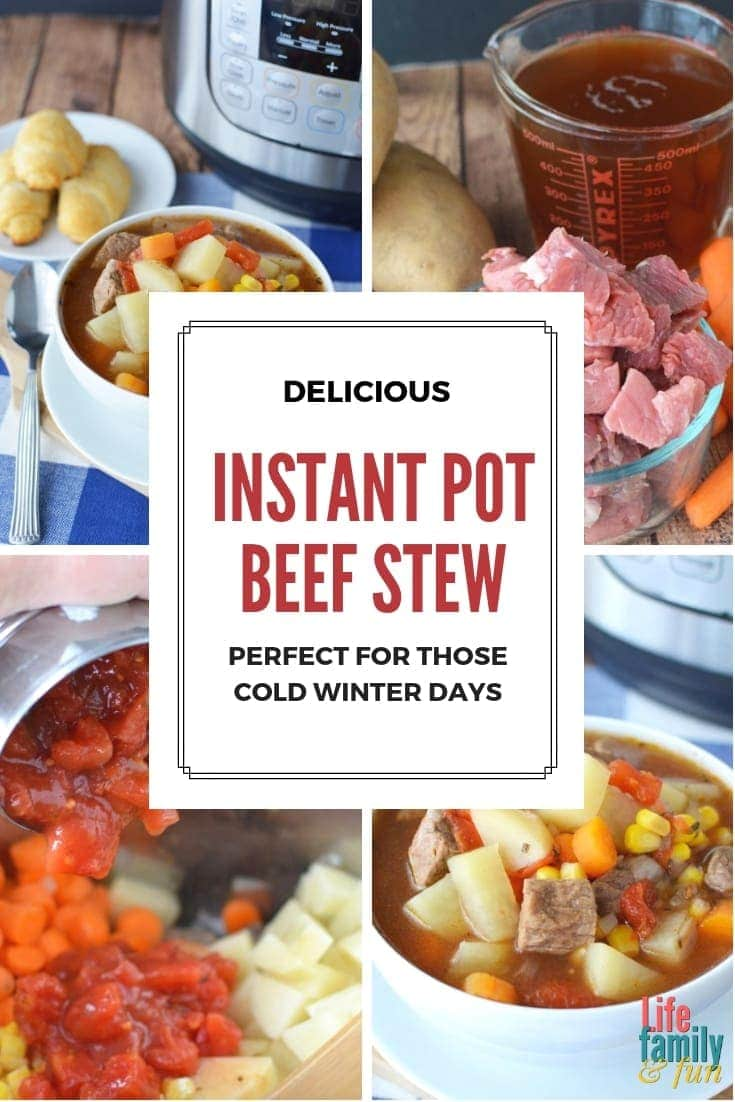 This Instant Pot Beef Stew Recipe uses basic ingredients like beef, potatoes, carrots, and more – This Instant Pot Beef Stew is a classic winter recipe perfect for those cold days. #InstantPotRecipe #InstantPotBeefStew https://www.lifefamilyfun.com/instant-pot-beef-stew/