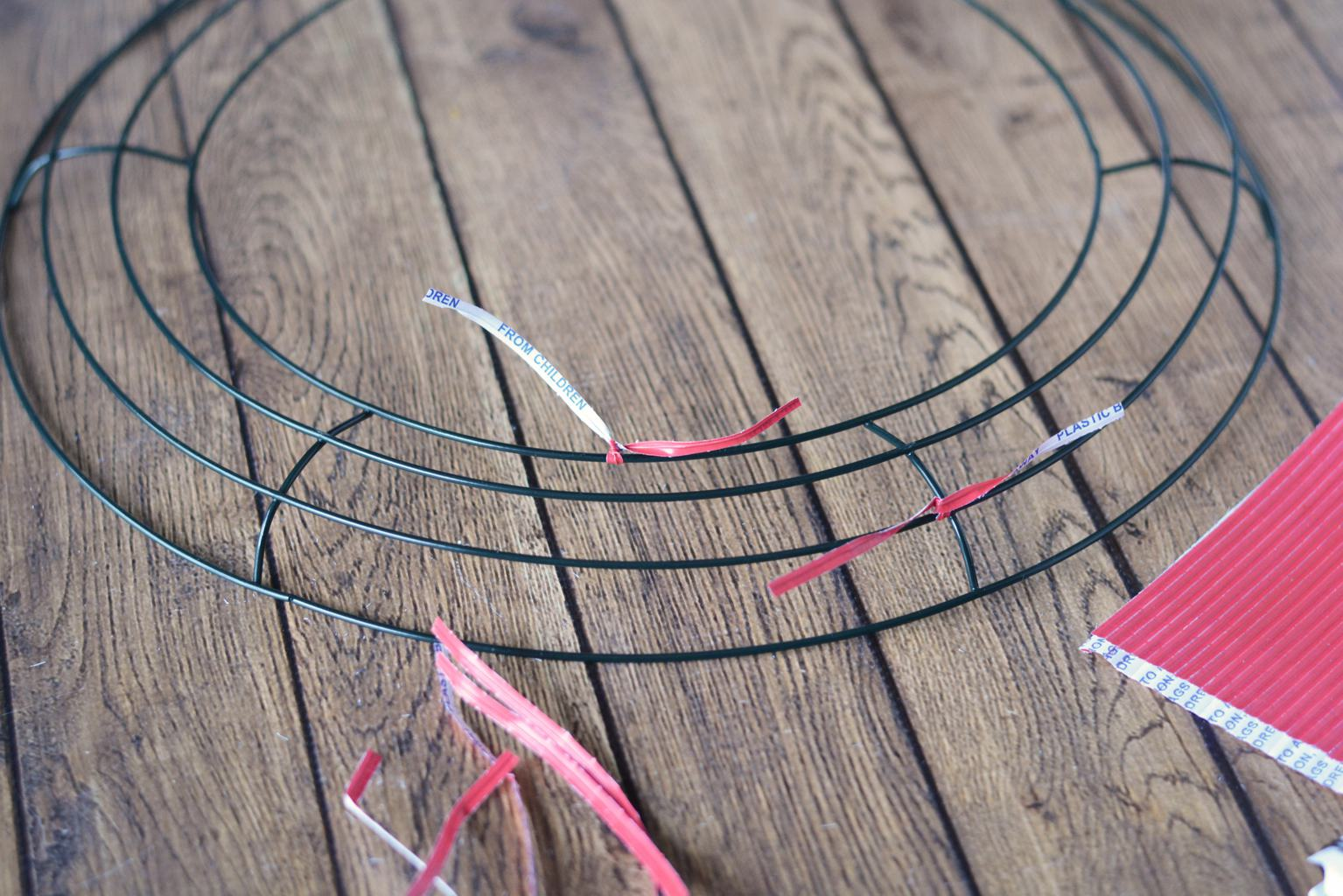 How To Make Deco Mesh Wreaths Step By Intructions Wiring Add Twist Ties Your Frame Place Them About 3 Apart And Alternate