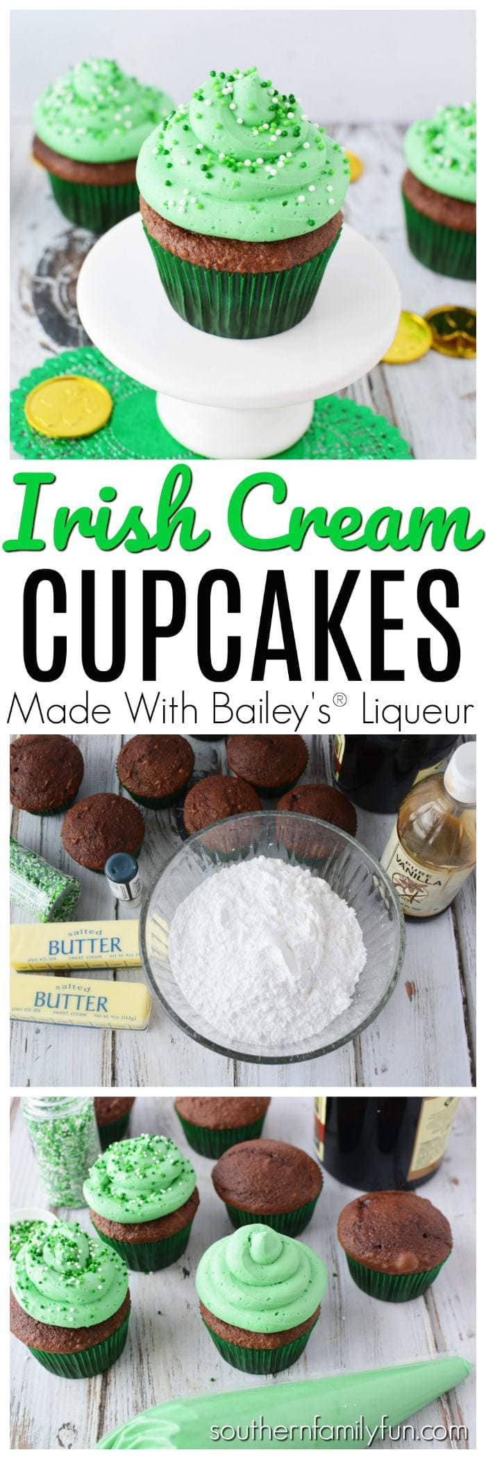 Incredibly delicious Irish Cream Cupcakes made with Baileys® These cupcakes are perfect for your St. Patrick's Day festivities. The end result is delicious cupcakes that someone will have to slap your hand to get you to stop eating.  Irish Cream Cupcakes for the win! #IrishCreamCupcakes #StPatricksDayRecipes