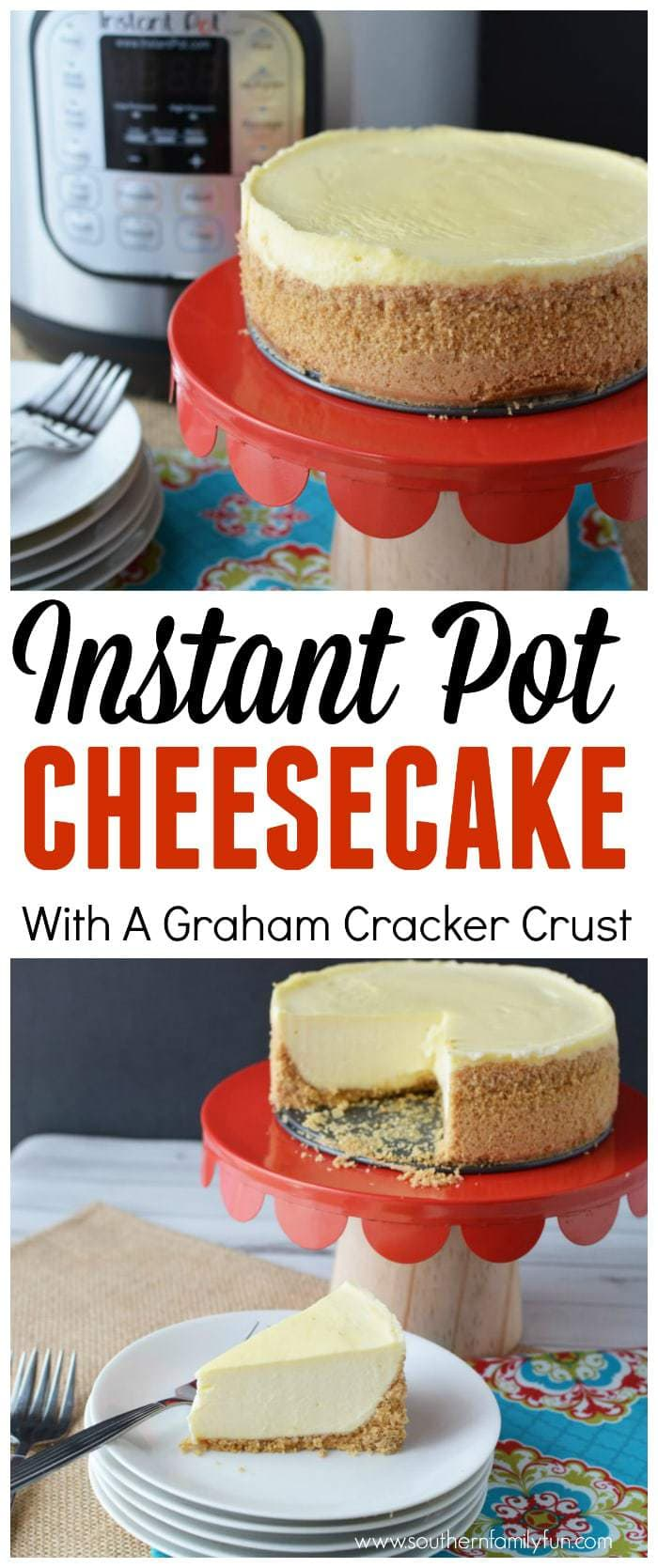 If you're craving that graham cracker crust and creamy texture, this Instant Pot Classic Cheesecake recipe will hit the spot! #Cheesecake #InstantPotCheesecake https://www.southernfamilyfun.com/instant-pot-cheesecake/