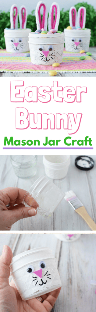 These Easter Bunny Mason Jars are an easy DIY craft that you and your kids will enjoy making together.  The best part is that you don't need a ton of craft supplies for this adorable craft. Perfect for the Easter Season. #EasterCraft #MasonJarCraft