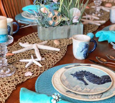 Cracker Barrel Coastal Dinnerware, Coastal Home Decor, Coastal Dining Room, Beach Theme Kitchen, Beach Themed Decor, Coastal Living, Coastal Decorations, Beach Themed Plates, Mermaid Dishes