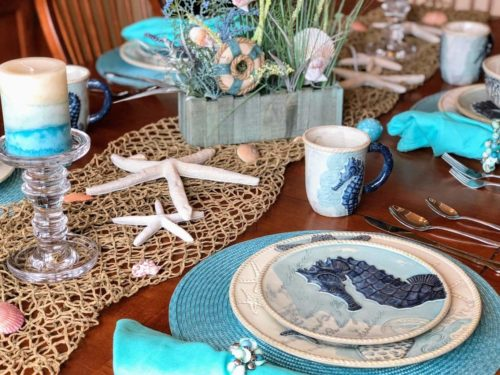 Cracker Barrel Coastal Dinnerware, Coastal Home Decor, Coastal Dining Room, Beach Theme Kitchen, Beach Themed Decor, Coastal Living, Coastal Decorations, Beach Themed Plates, Mermaid Dishes