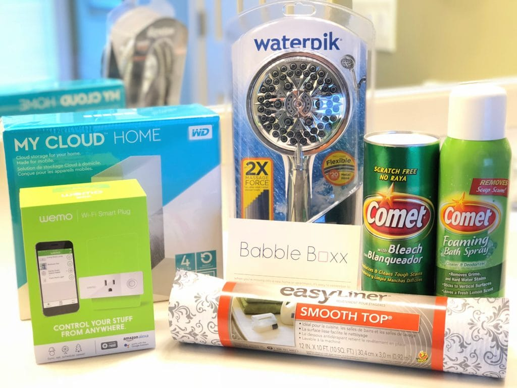 tips buying new home, buying new home tips, buying new home must haves, products you need when buying new home, Waterpik Chrome PowerSpray, comet bleach, comet foaming bath spray, easy liner, my cloud home, wemo