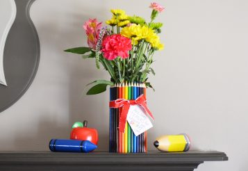 DIY Teacher Gift Idea: How To Make A Colored Pencil Flower Vase