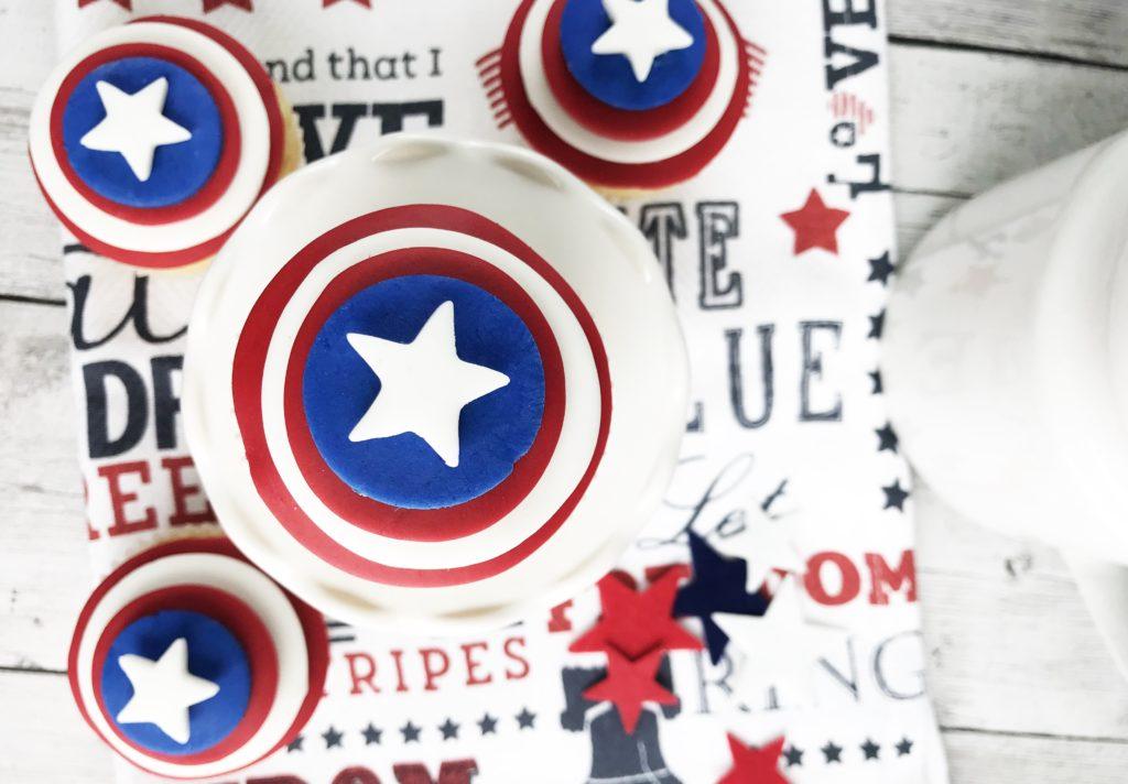 captain America, disney marvel captain America, Marvel's Captain America, Patriotic Recipe, Forth of July Cupcakes, Memorial Day Cupcakes