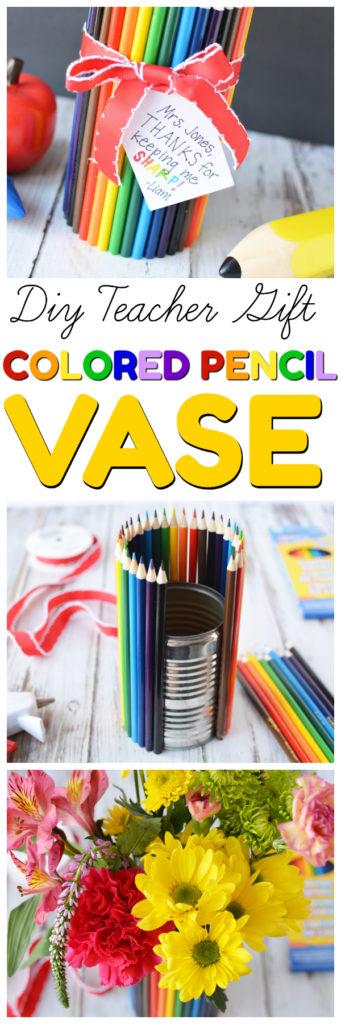 teacher appreciation gift, diy colored pencil vase