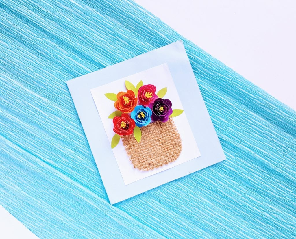 handmade card, diy Mother's Day card, diy rolled flowers, rolled flowers on card, 3d card with flowers, Mother's Day greeting card, homemade greeting card for Mother's Day