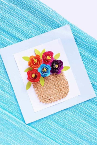 diy Mother's Day card, diy rolled flowers, rolled flowers on card, 3d card with flowers, Mother's Day greeting card, homemade greeting card for Mother's Day