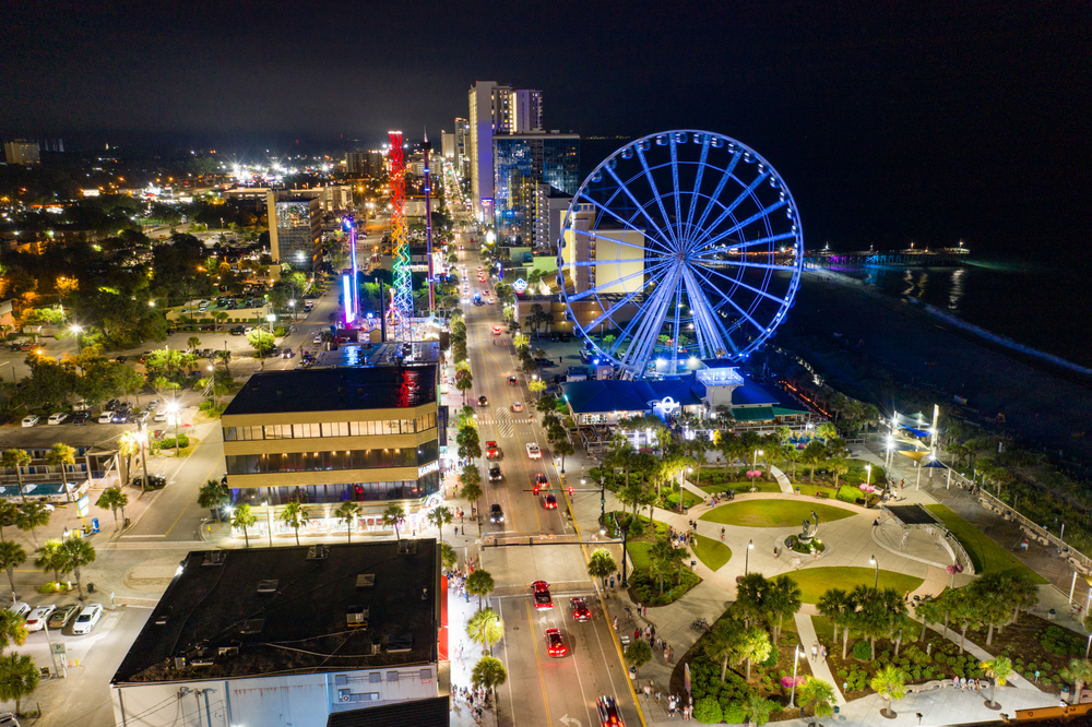 Aerial night photo of Myrtle Beach and Skywheel