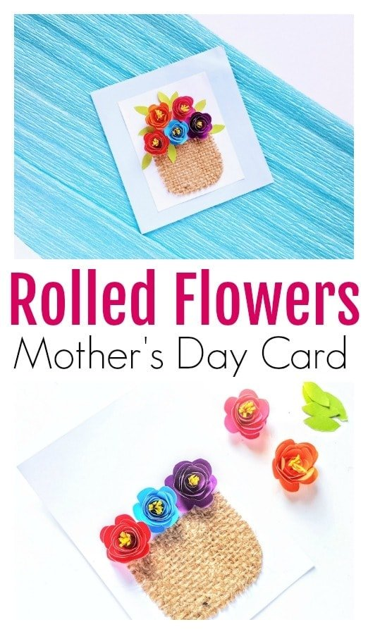diy Mother's Day card, diy rolled flowers, rolled flowers on card, 3d card with flowers, Mother's Day greeting card, homemade greeting card for Mother's Day, rolled flowers
