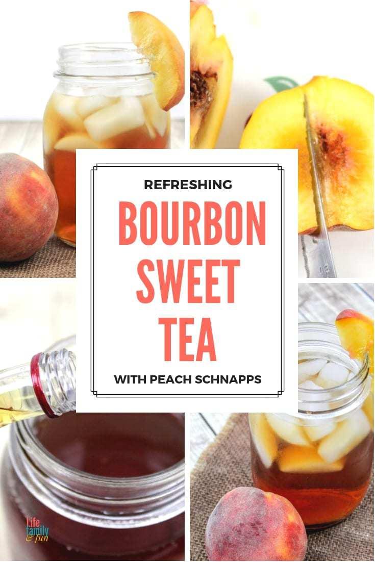 bourbon Sweet Tea made with peach schnapps