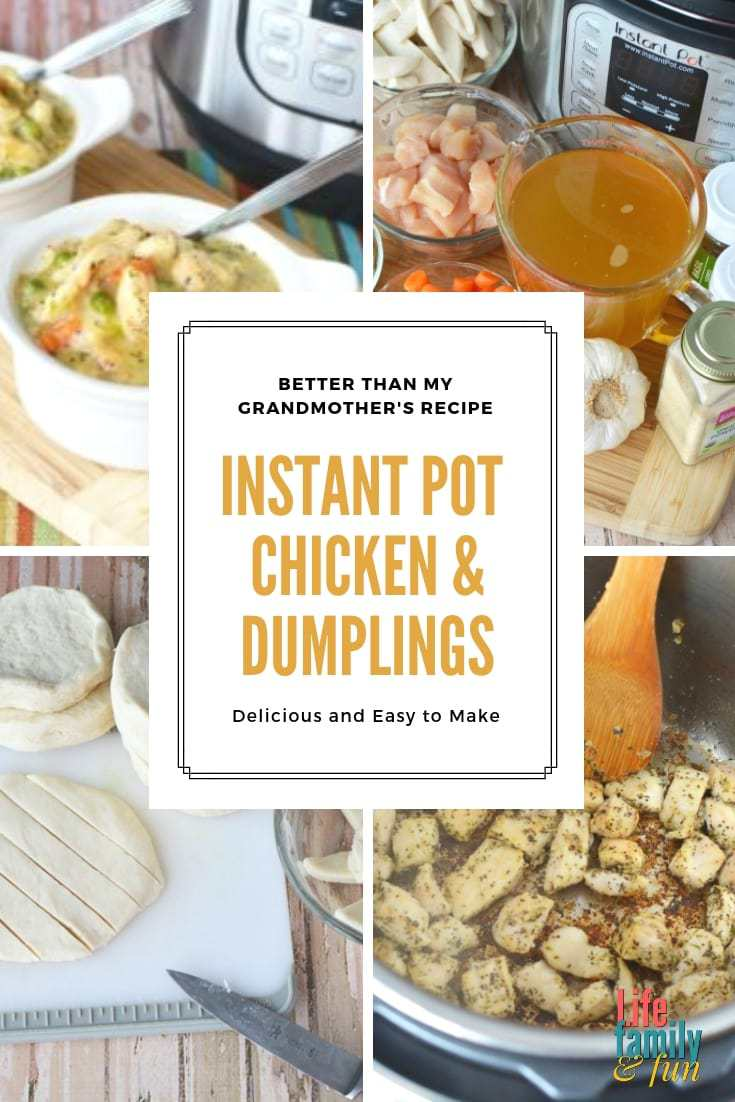 instant pot chicken and dumplings recipe made with canned biscuits