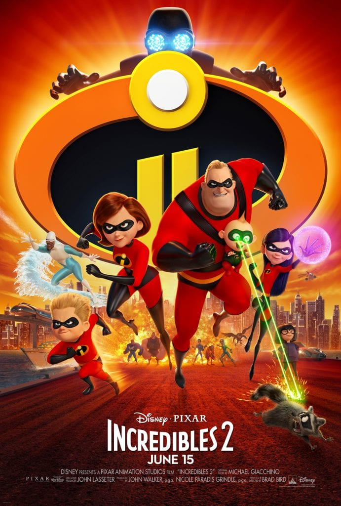 "Incredible 2 poster: In INCREDIBLES 2, Helen (voice of Holly Hunter) is called on to lead a campaign to bring Supers back, while Bob (voice of Craig T. Nelson) navigates the day-to-day heroics of ""normal"" life at home with Violet (voice of Sarah Vowell), Dash (voice of Huck Milner) and baby Jack-Jack—whose super powers are about to be discovered. Their mission is derailed, however, when a new villain emerges with a brilliant and dangerous plot that threatens everything. But the Parrs don't shy away from a challenge, especially with Frozone (voice of Samuel L. Jackson) by their side. That's what makes this family so Incredible."