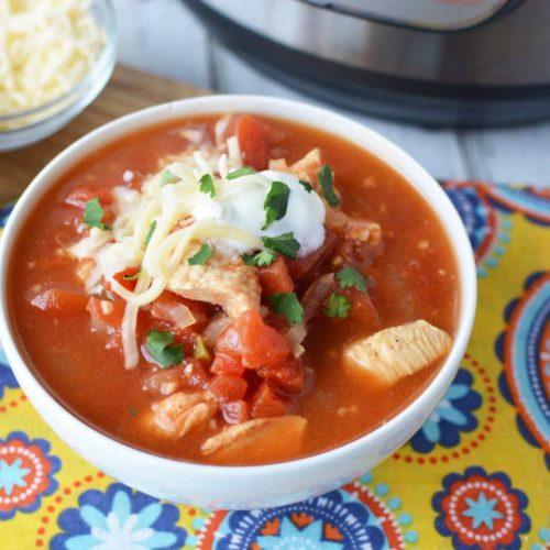 instant pot chicken taco soup, mexican taco soup, mexican chicken taco soup with tortillas