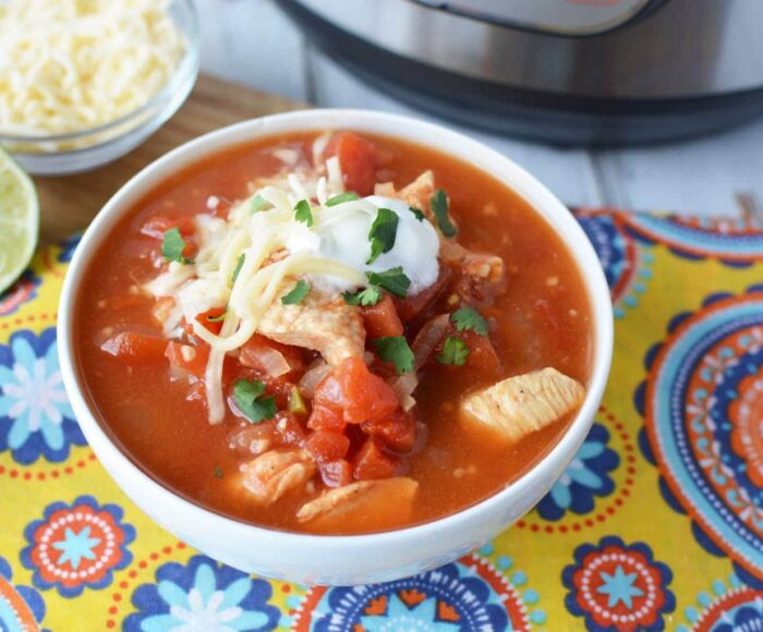 instant pot chicken taco soup, mexican taco soup, mexican chicken taco soup with tortillas