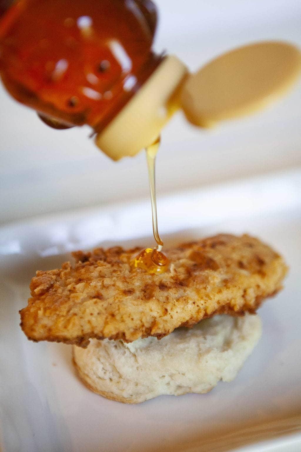 add honey to chicken biscuits