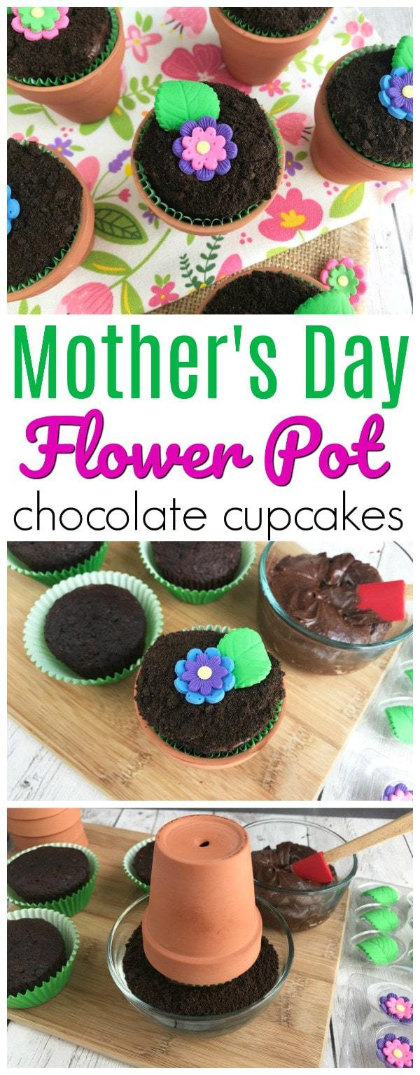 Looking for the perfect way to celebrate Mother's Day, Earth Day, or possibly even just a fun way to welcome in the spring and summer weather? These Chocolate Flower Pot Cupcakes are a must! Not only are they absolutely adorable, they taste great as well. #flowerpotcupcakes #MothersDayCupcakes #springcupcakes #summercupcakes