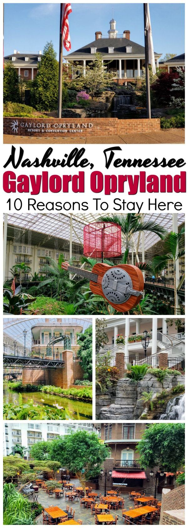 Words can't even accurately describe the beautiful gardens, the beautiful lobby, theriver, and the sunlight streaming in through the skylight of the atrium. Gaylord Opryland Hotel is serene, peaceful and simply breathtaking. Here are 10 reasons why you will love Gaylord Opryland Hotel in Nashville. #Nashville #GaylordOpryland