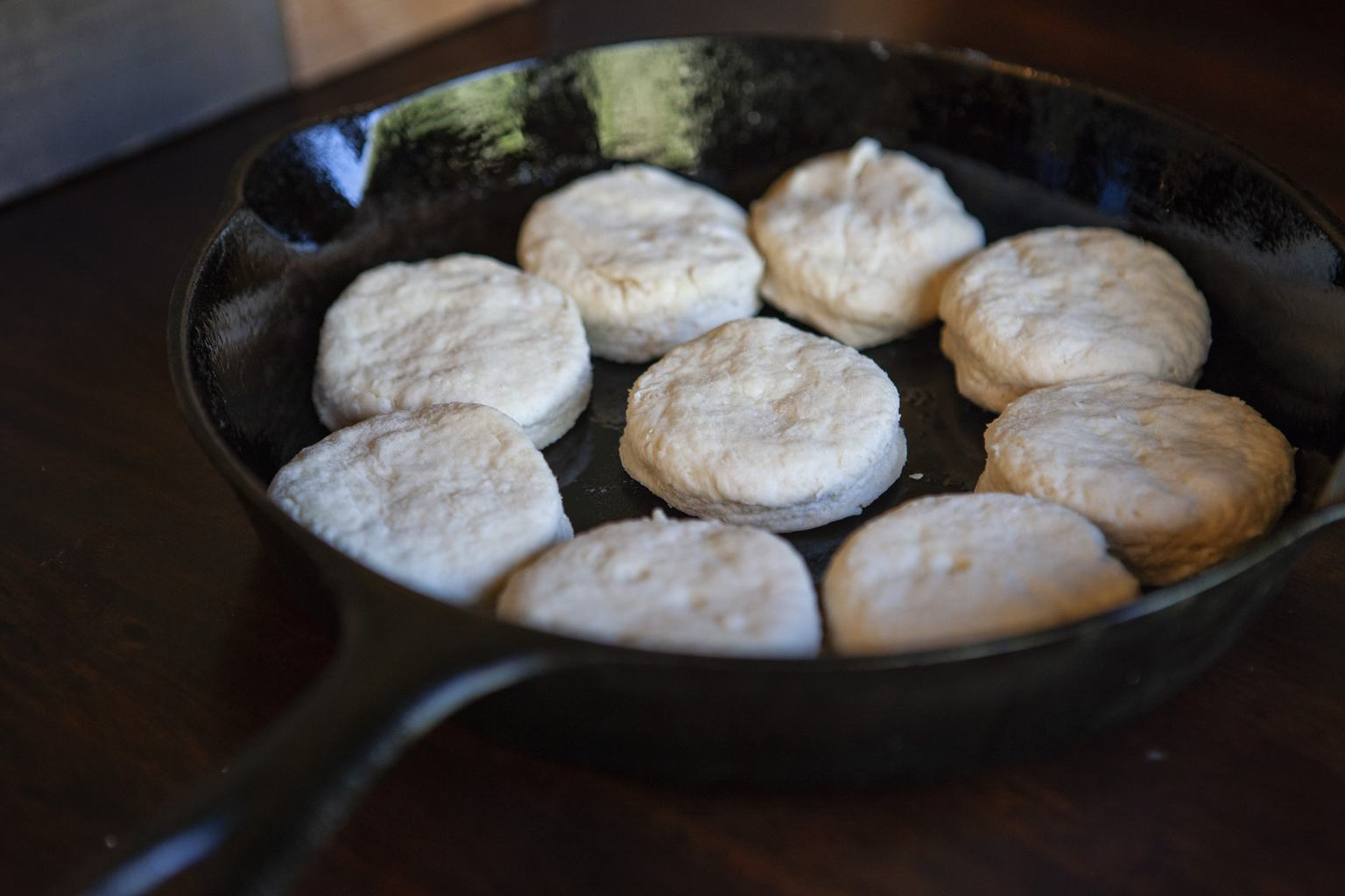 homemade buttermilk biscuits in the iron skillet