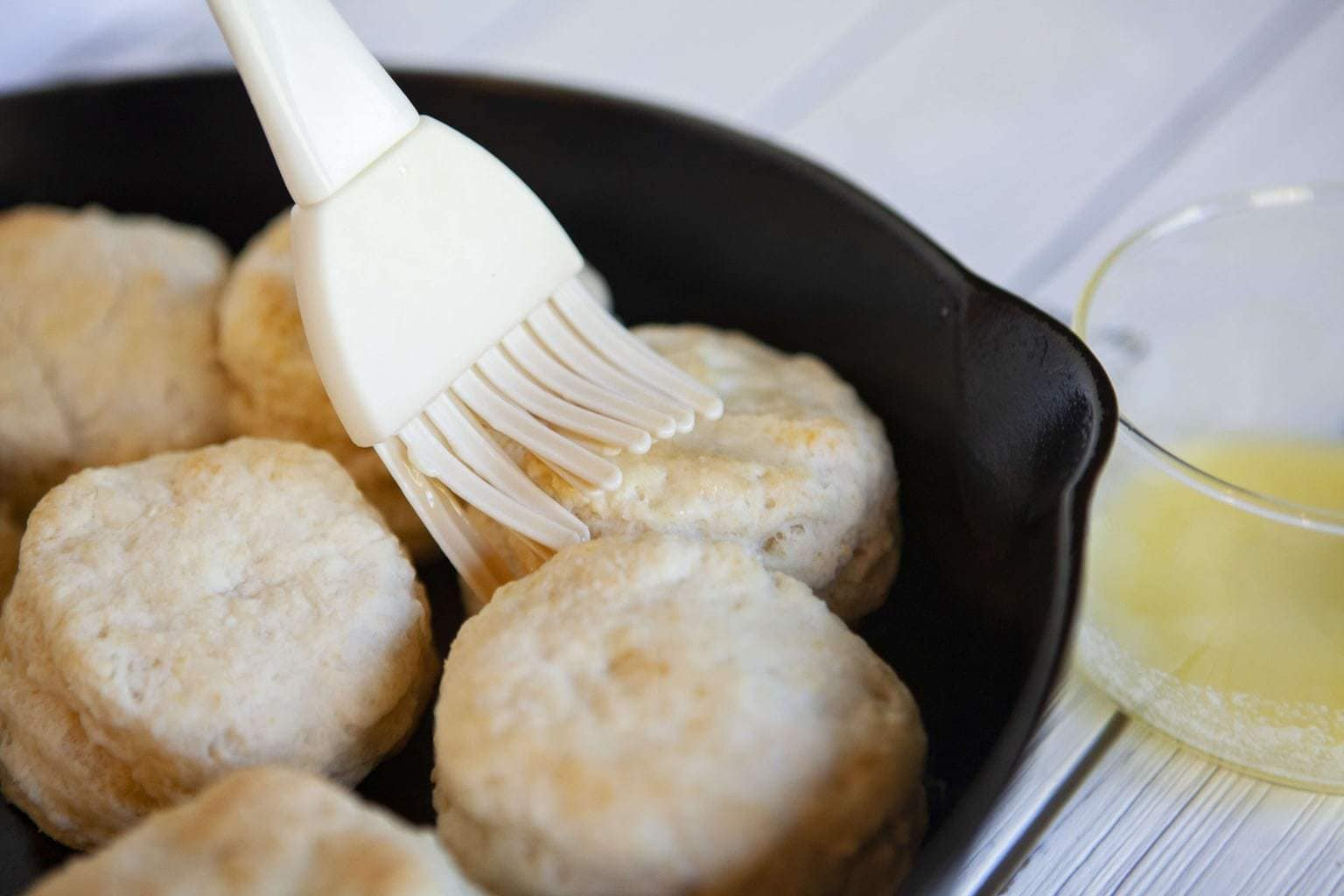 homemade biscuits in the skillet